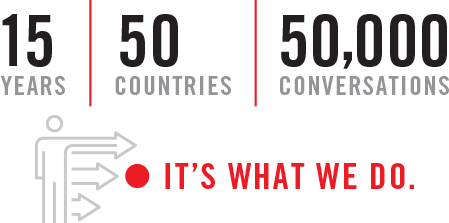 15 years, 50 countries, 50,000 conversations. It's all we do.